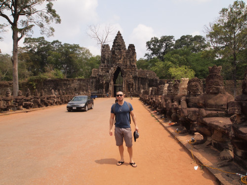 Outside the entrance to the main temple-grounds in Siem Reap